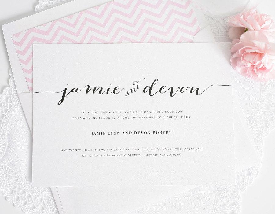 Calligraphy wedding invitation pink chevron romantic