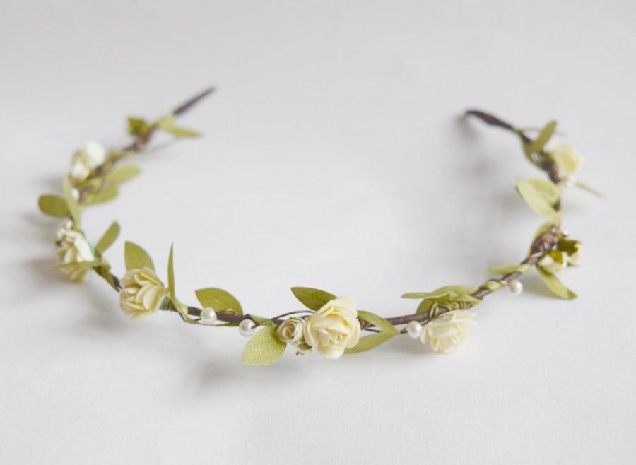 Hochzeit - Bridal Flower Crown, rustic flower crown, bridal hair accessories, wedding hair accessories, flower circlet, floral crown, - ARTEMIS -