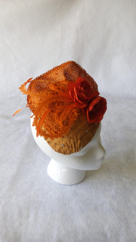 60e58fb733c Orange Wedding Fascinator