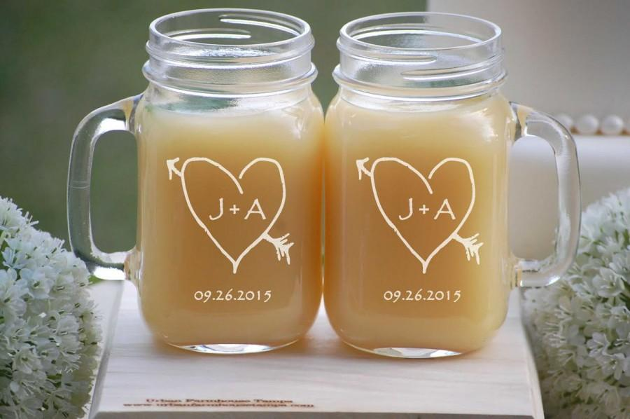2 Engraved Mason Jars Personalized Wedding Gles Rustic Carved Heart 16oz Jar Mugs With Handle