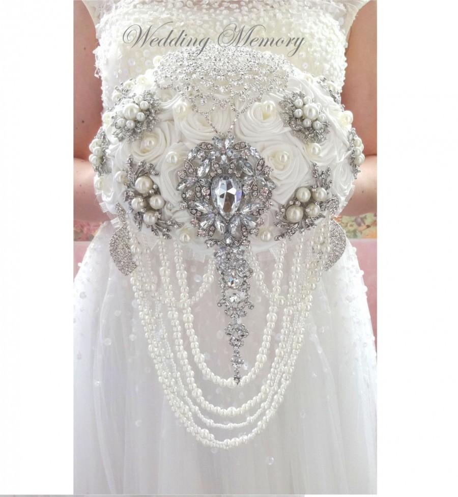 "Свадьба - BROOCH BOUQUET Ready to ship 9""  ivory color, silver jeweled with crystals and bling jewlery for wedding"
