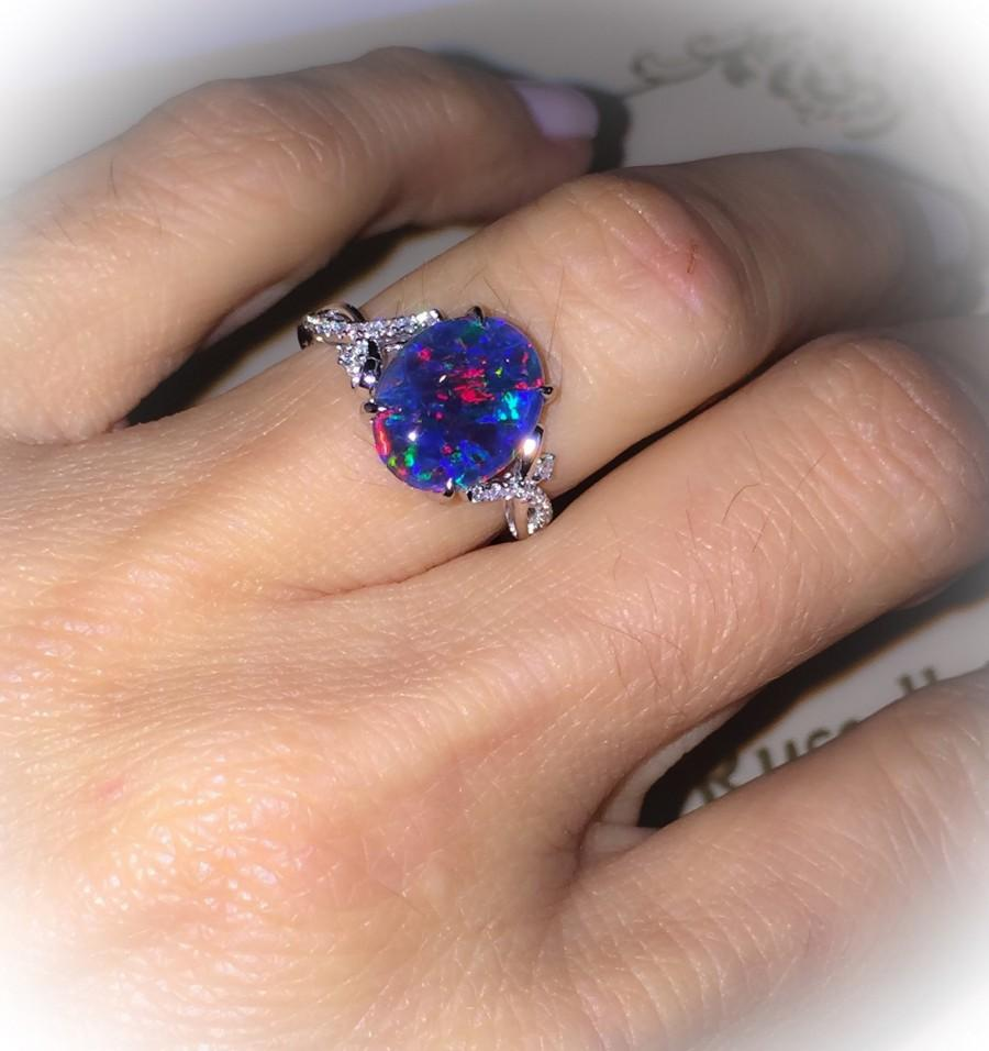 Natural Black Opal Ring 18k White Gold U0026 Genuine Diamonds RARE Coober Pedy  Mine Black Opal Triplet Fashion Birthstone Anniversary Ring