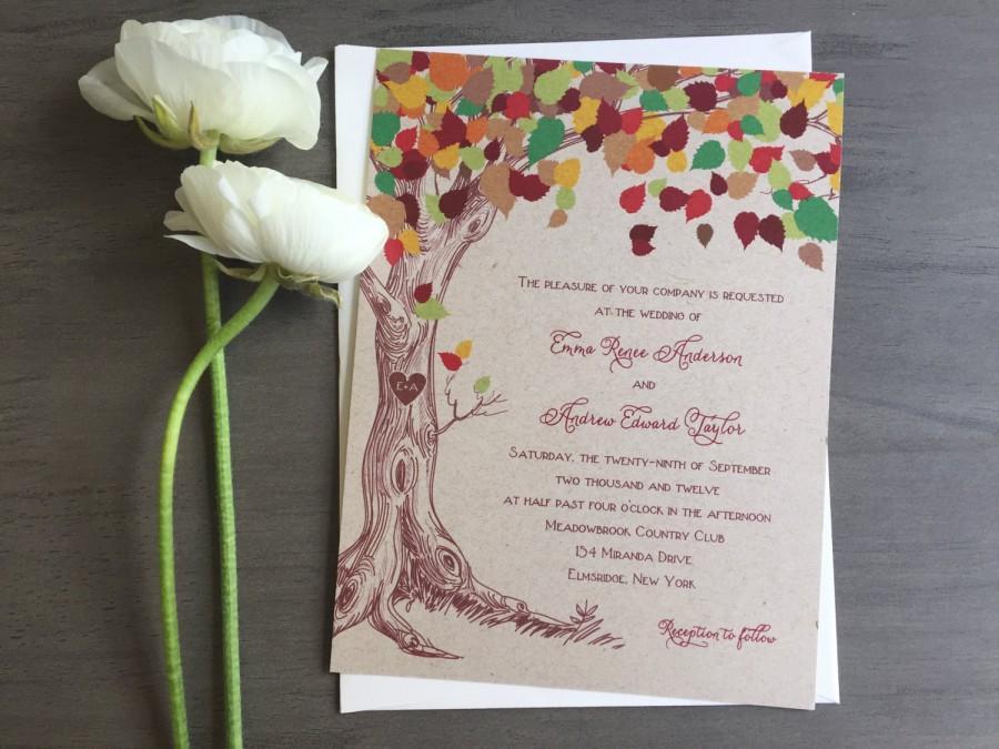Rustic Tree Wedding Invitation Rustic Fall Wedding Invitation