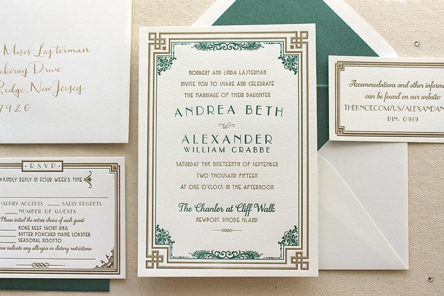 Art Deco Wedding Invitations.The Daisy Suite Letterpress Wedding Invitation Suite Art