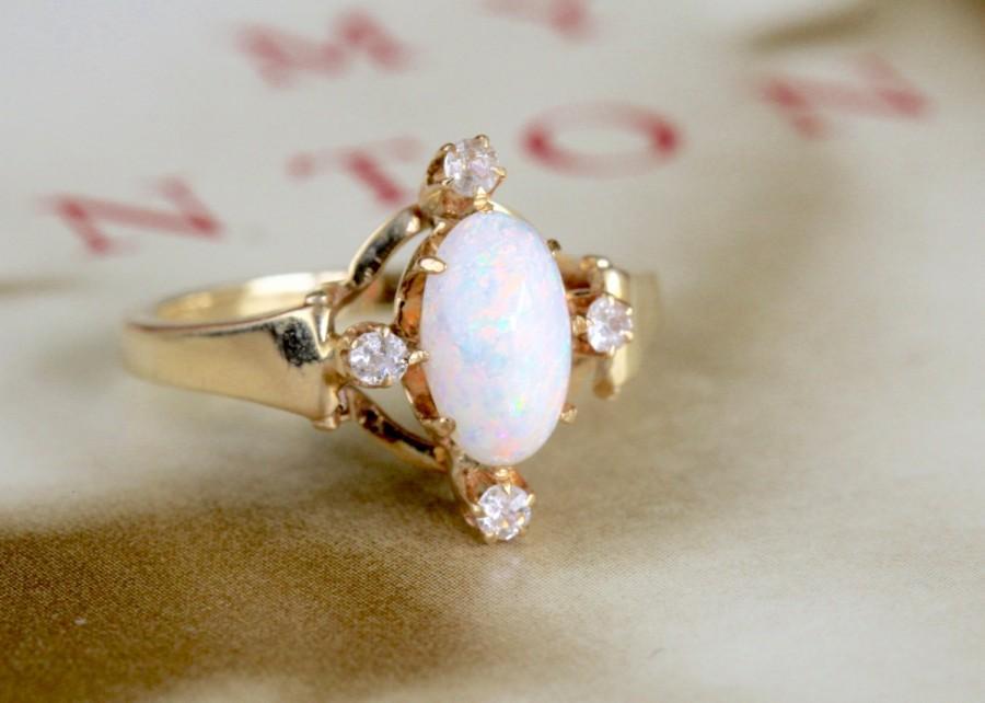 زفاف - Art Deco Opal Diamond Engagement Ring, 1ct Opal Engagement Ring, Antique Engagement Ring, Alternative Engagement Ring, 14k Gold Opal Ring