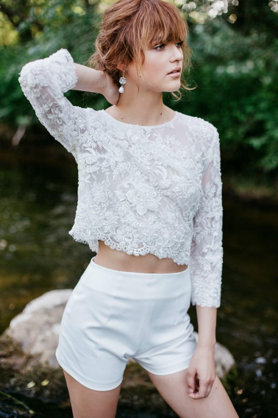 Wedding - Wedding Top, Bridal Lace Top, Boho Bridal  Lace Crop Top , 3/4 Sleeves Bridal Top, Ivory  White Floral Lace Top, Bridal Separates - ARIEL
