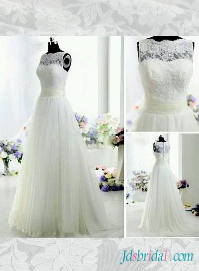 Mariage - H1553 Beautiful illusion lace bateau neck tulle wedding dress
