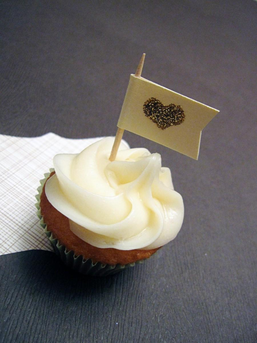 Mariage - Heart of Gold Cupcake Flags