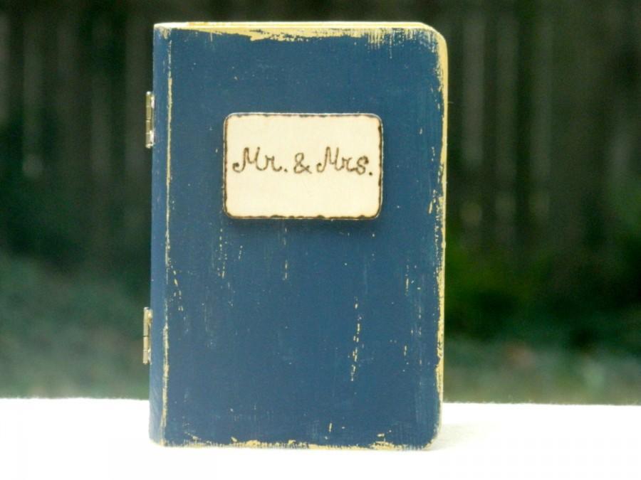 Ring Box Wedding Ring Box Alternative Pillow Ring Book Navy And Gold ...