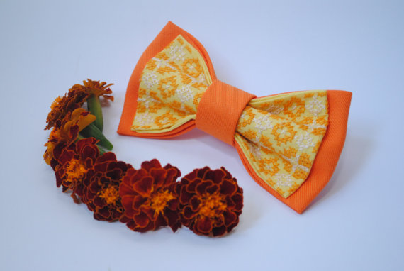Свадьба - Orangyello Bow tie Orange yellow men's bowtie Wedding bow tie Harvest Pumpkin colours For wedding in orange Le nœud papillon Groomsmen ties