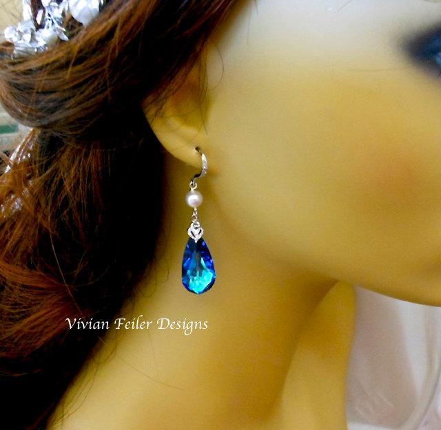 زفاف - PEACOCK WEDDING EARRINGS Pearl Blue Earrings Cubic Zirconia Wedding Jewelry Prom