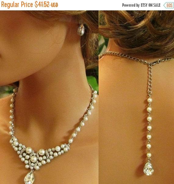 Свадьба - Bridal jewelry set, bridesmaid jewelry set, Bridal necklace, backdrop necklace, bridesmaid earrings, pearl necklace, bridal statement set