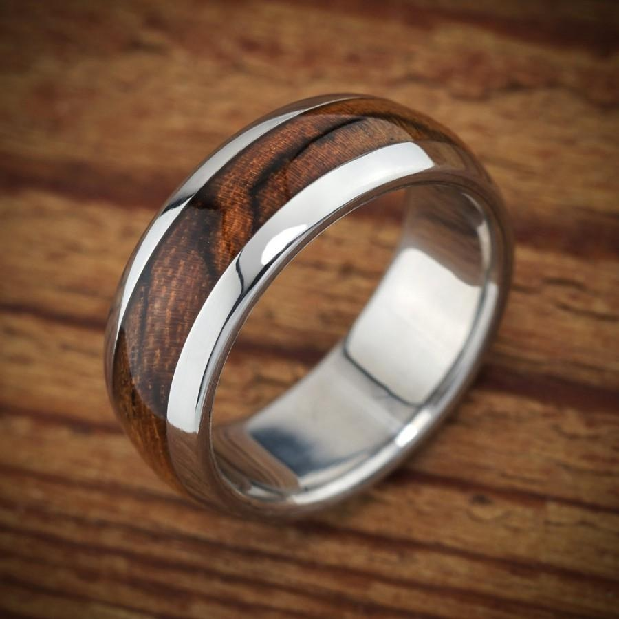 Свадьба - Titanium Wood Wedding Band Bocote Men's Ring
