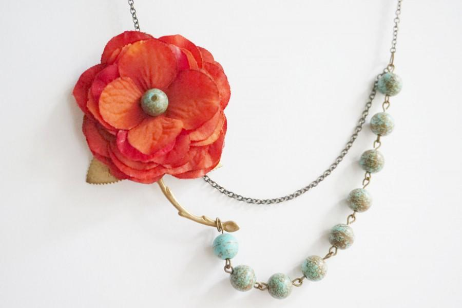 Свадьба - Statement Necklace,Turquoise Necklace,Boho Necklace,Red Orange Flower Necklace,Turquoise Jewelry,Bridesmaid Jewelry Set,Bridesmaid Gift,Gift