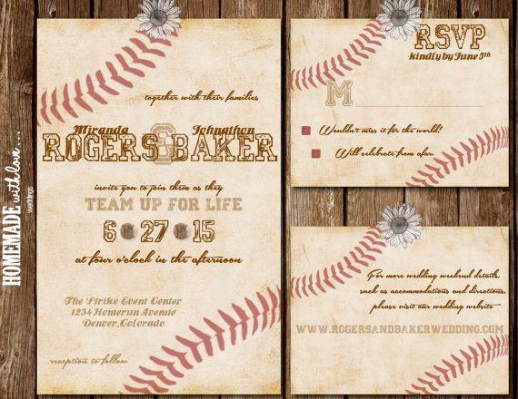 The Vintage Baseball Collection Set Printable Wedding Invitation