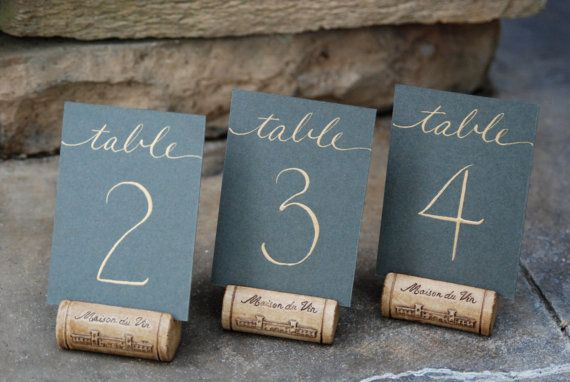 """Wedding - Reserved For Amanda - 15 3.5 X 5"""" Flat Wedding Table Numbers - Hand Calligraphy In Gold On Slate Card Stock"""