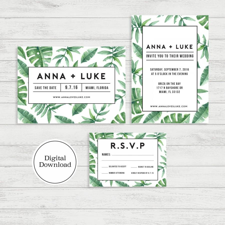 Mariage - Tropical Palm Wedding Invitation Set