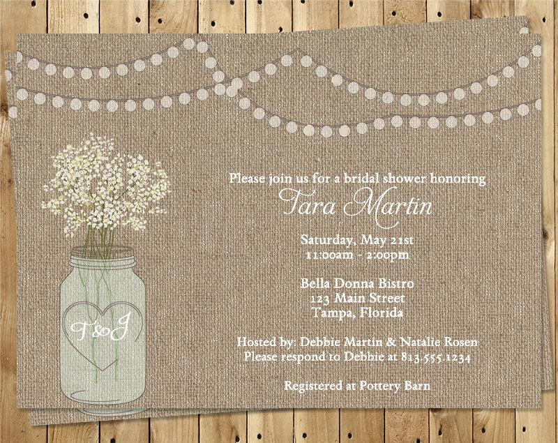 Mason Jar Bridal Shower Invitations Burlap White Flowers