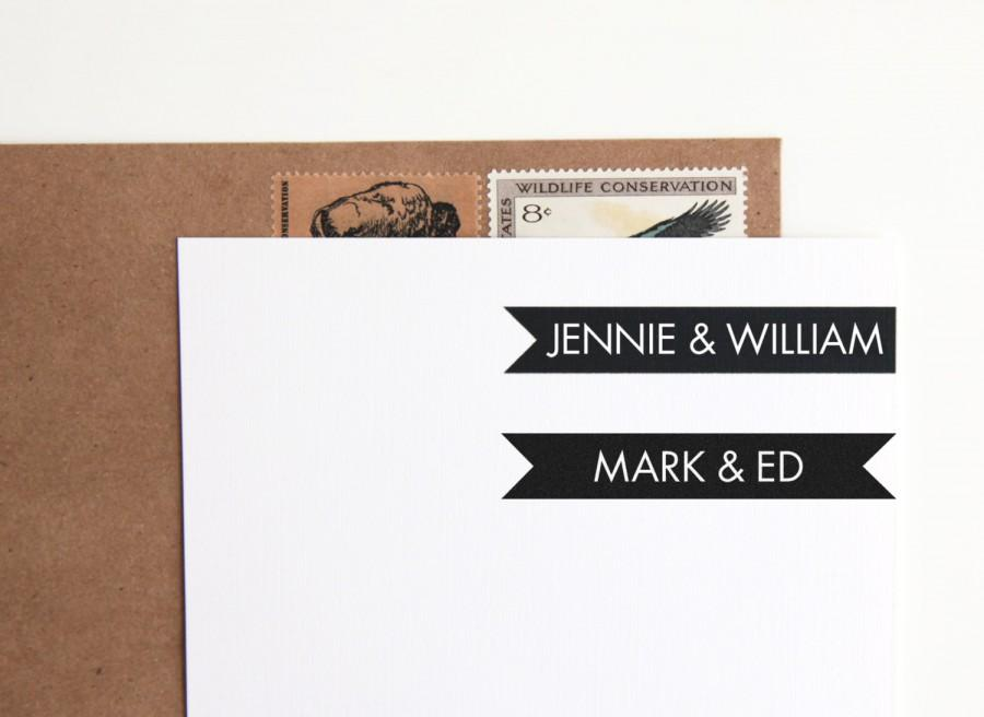 Mariage - Custom Rubber Stamp Modern Nameplate, Personalized with Couples Names or First and Last (Wood Mounted) DIY Wedding Favors, Save the Date