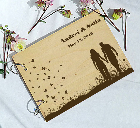 زفاف - Personalised Wedding Guest Book Alternative Wooden Rustic Wedding Guest Book Wooden Guestbook Custom Guest book Wedding gift