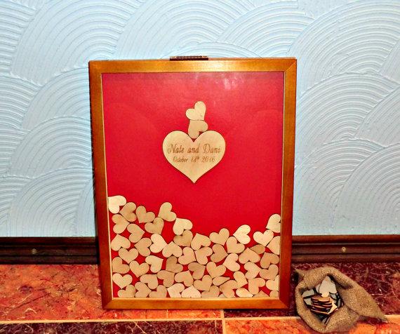 Mariage - 3D Wedding Guest Book Alternative Drop Top Guestbook Personalised Wooden Wedding Guestbook Rustic Wedding Guest Book Heart Drop Top Box