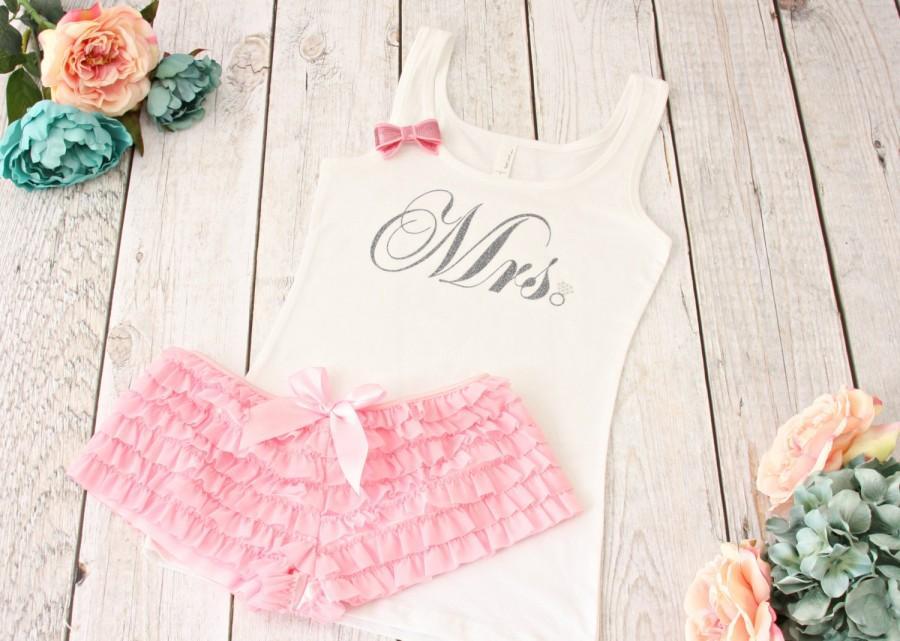 3f7ebd46d5 Mrs Lingerie Set. Bride Tank Top and Ruffled Boyshorts. Bridal Lingerie.  Bride Pajama Set. Bride Lingerie. Bridal Boudoir Outfit.