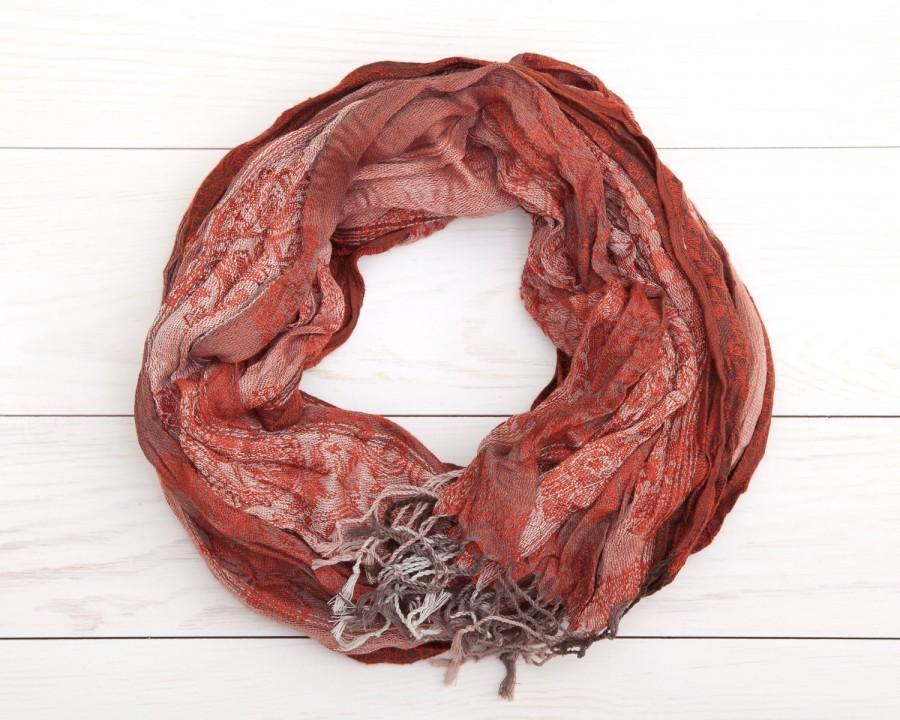 Hochzeit - Orange Crinkle Scarf, plaid scarf, Women Scarf, Winter Fashion Scarf, Gift Idea