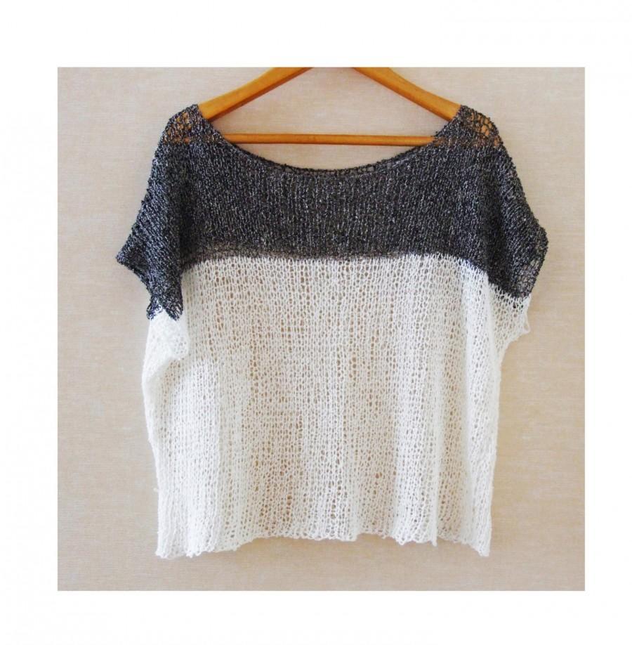 Knitting Summer Top : Oversized knit top linen summer shirt t