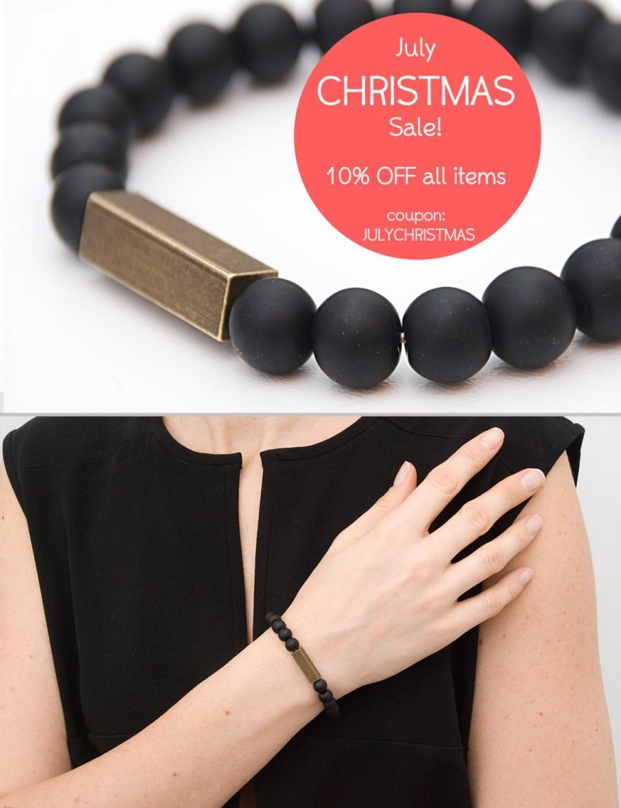 Black Matte Onyx Bracelet Gemstone Stretch Beaded For Men Meditation Protective