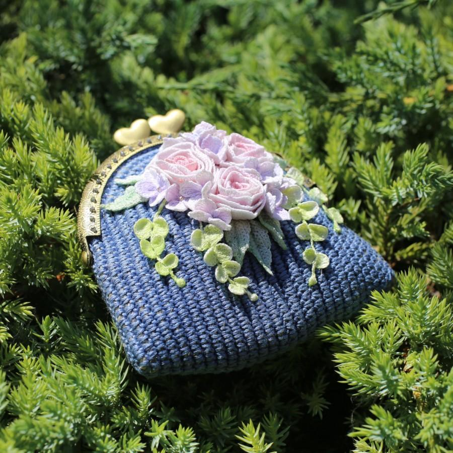 Crochet floral coin purse blue crochet small pouch with a crocheted crochet floral coin purse blue crochet small pouch with a crocheted bouquet with hand dyeing flowers micro crochet crochet art izmirmasajfo