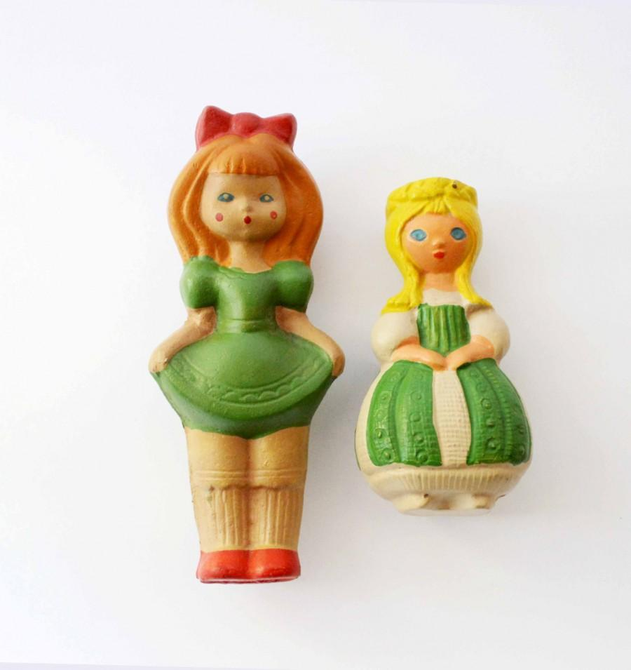 Two Cute Little Princess Soviet Toy Squeaker Rubber Doll Toys ...