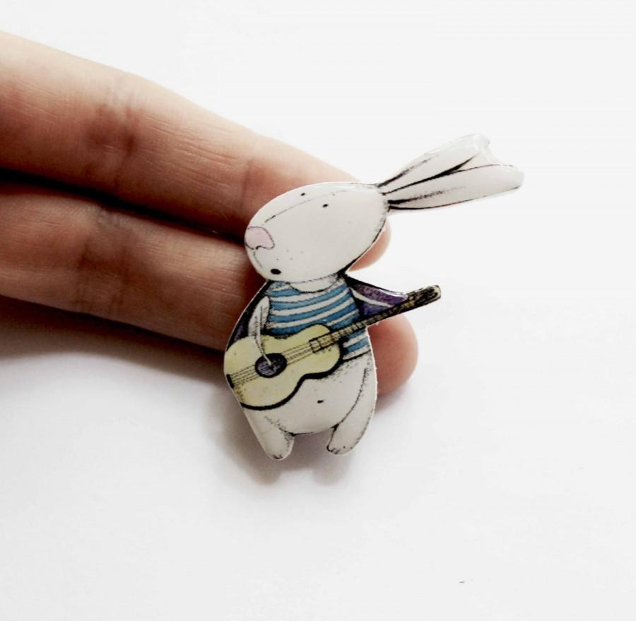 Wedding - Bunny Rabbit Hare With a Guitar Brooch pin Bunny Jewelry Rabbit Lovers Gift for Guitar Players Tiepin  Breastpin Scarfpin Sunburst (0183)