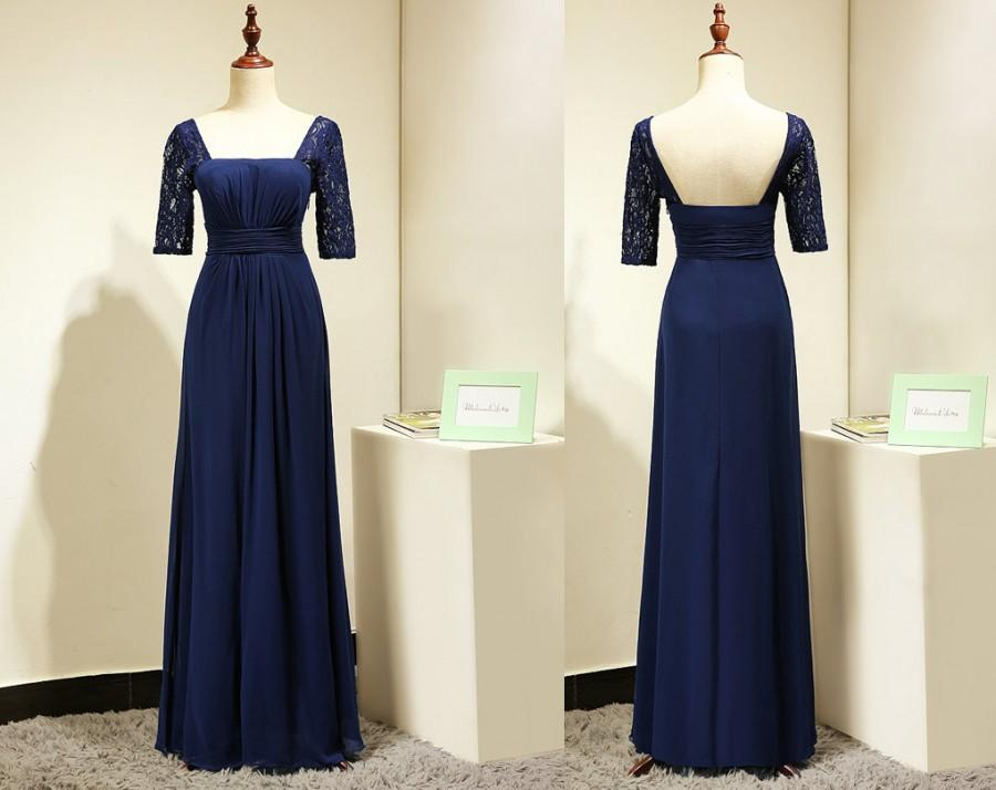 Mariage - Navy Blue Bridesmaid Dress with Sleeves  Long Chiffon Elegant Evening Dress Lace Short Sleeves Formal Gown Prom Dress