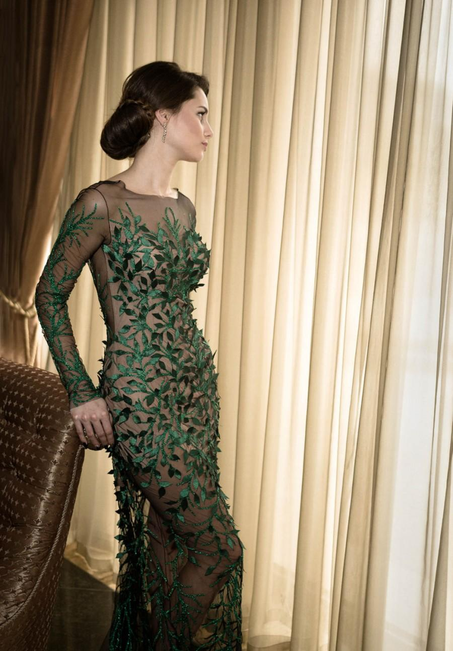 Green Formal Gown Long Cocktail Dress Mother Of The Bride Dress In