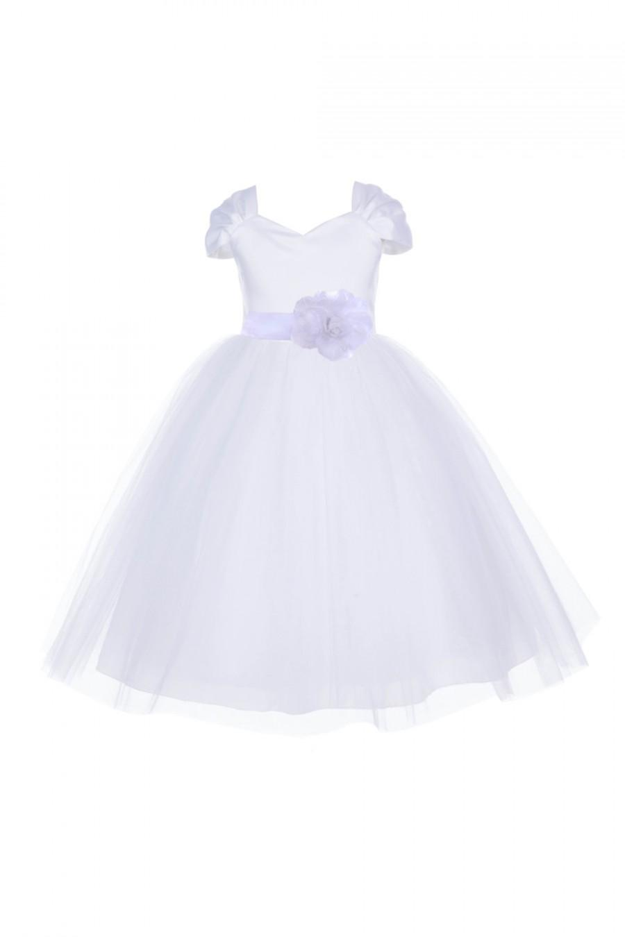 Short Sleeves White Flower Girl Dress V Shaped Neckline Pageant
