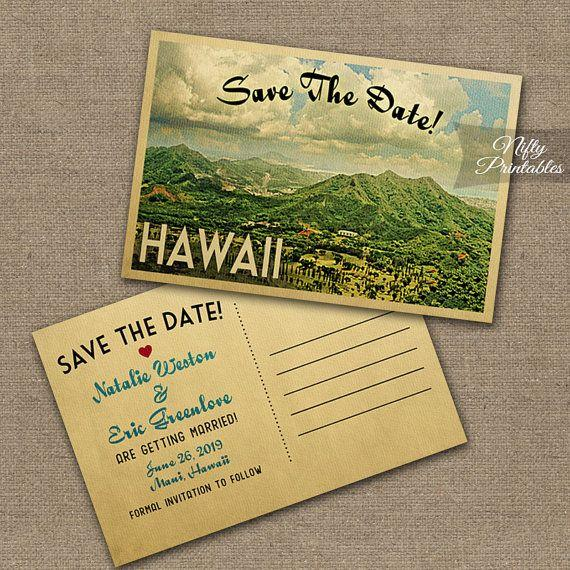 Wedding - Hawaii Save The Date Postcards - Printable Hawaiian Save The Date Cards - Retro Vintage Travel Island Destination Wedding VTW