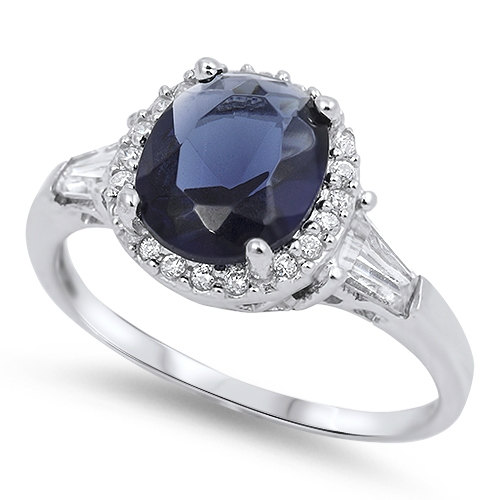 زفاف - 925 Sterling Silver 3.00 Carat Oval Cut Blue Sapphire Round Baguette Russian Diamond CZ Cocktail Halo Wedding Engagement Ring Lovely Gift