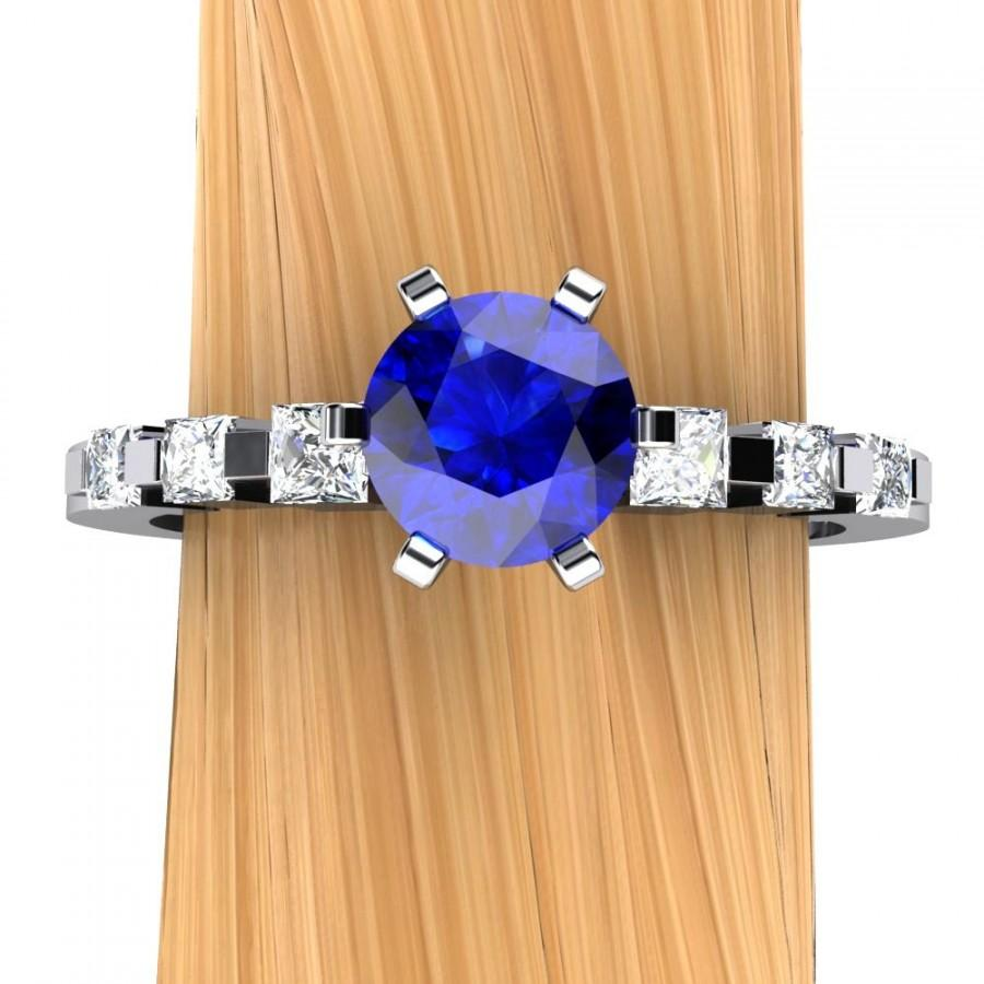 Hochzeit - Sapphire Engagement Ring in Palladium, Half Carat Solitaire, Princess Accented Band - Free Gift Wrapping