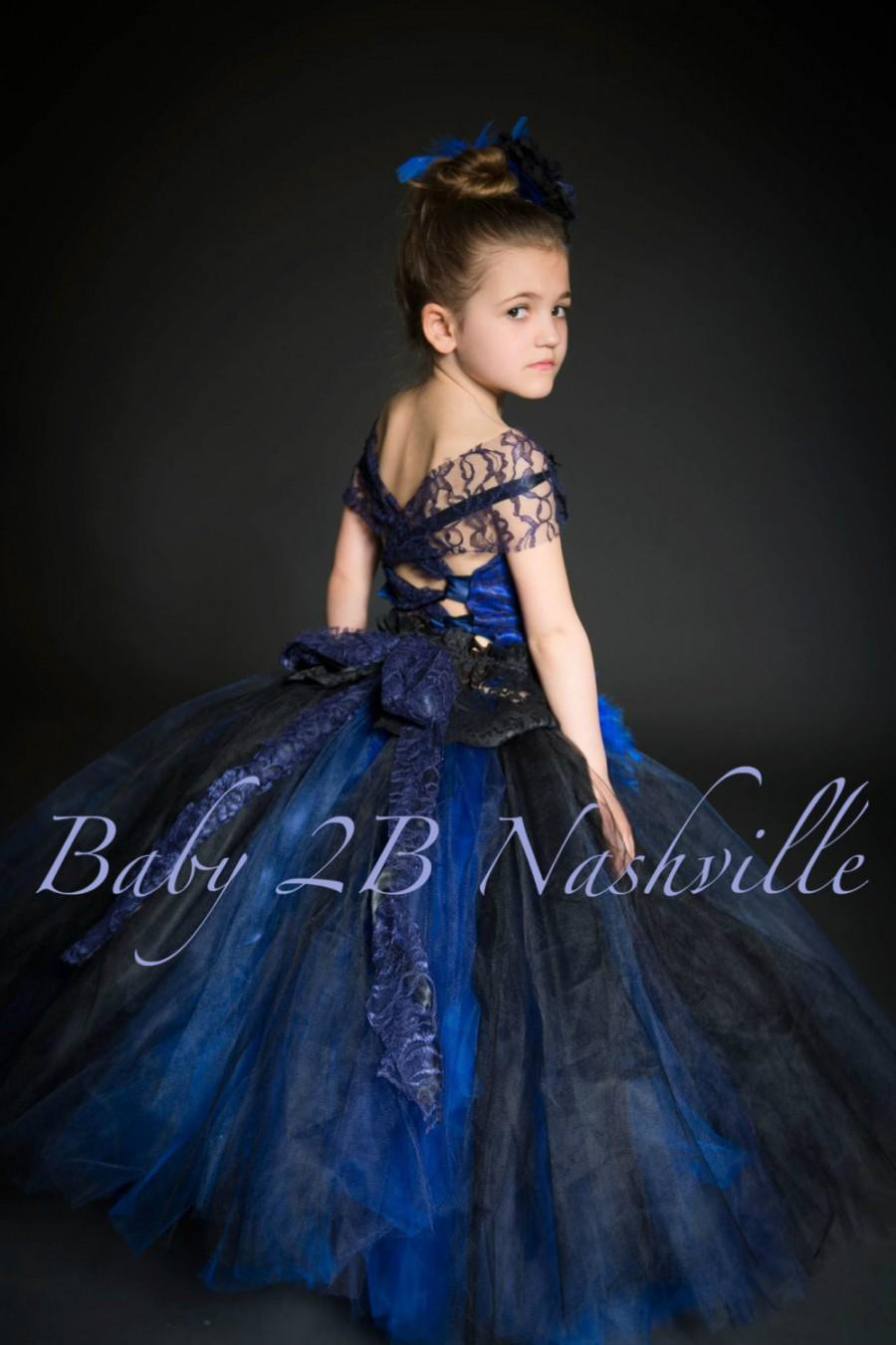Royal Blue Flower Girl Dress Navy Lace Dress Tulle Tutu Dress All