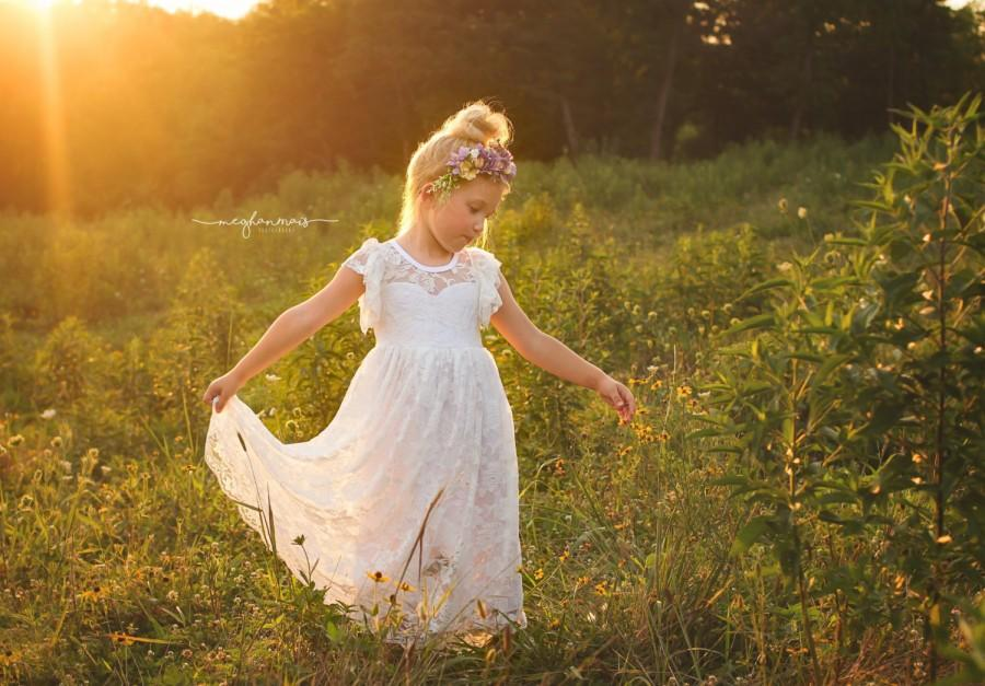 Wedding - White Boho Flower Girl Dress Lace Flower Girl Dress Flower Girl Dresses Lace Baby Dress Country Flower Girl Dress Lace Rustic Flower Girl