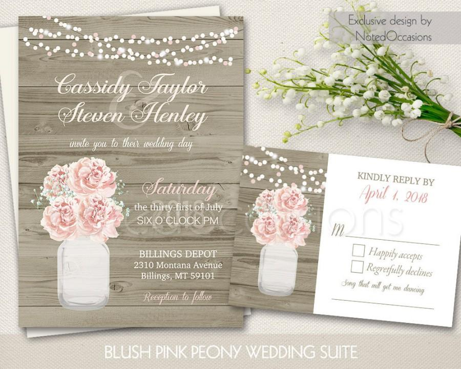 Mariage - Rustic Mason Jar Wedding Invitation Set - Country Blush Pink Peony Baby's Breath