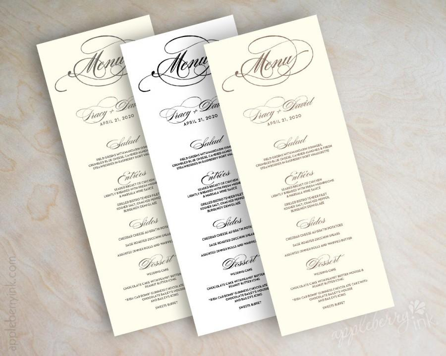 Wedding Menu Card Printable Diy Reception Menus Tower Tea Length Long Plain Script