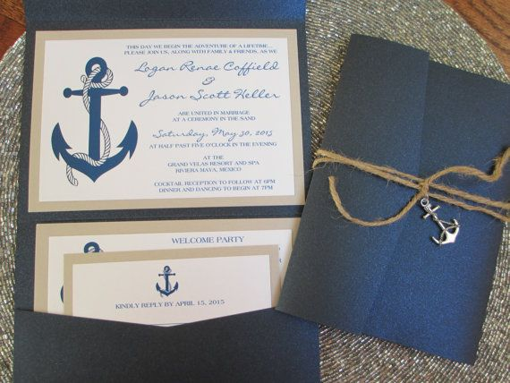 Nautical Theme Destination Wedding Invitation Anchor Navy Blue