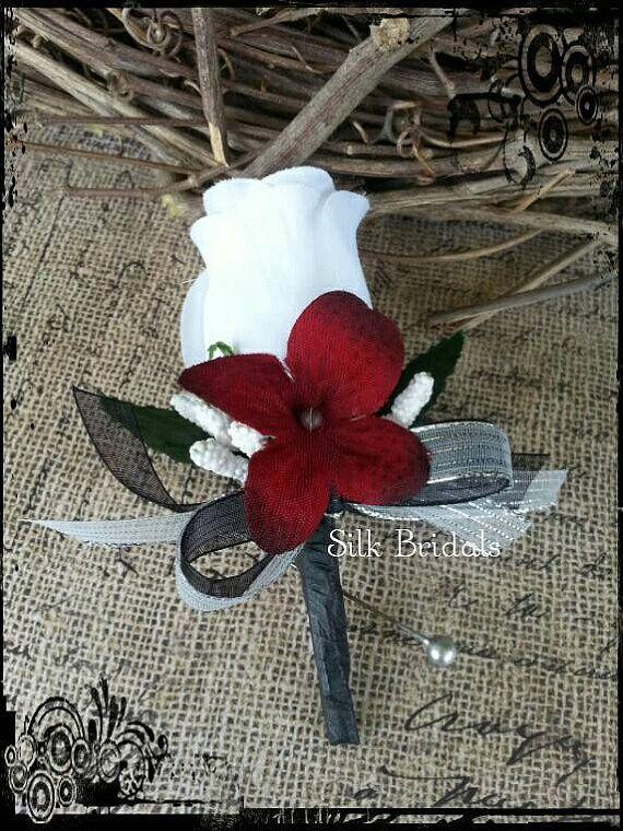 White rose boutonniere red black silver groom groomsman bridal silk white rose boutonniere red black silver groom groomsman bridal silk wedding flowers father best man mightylinksfo