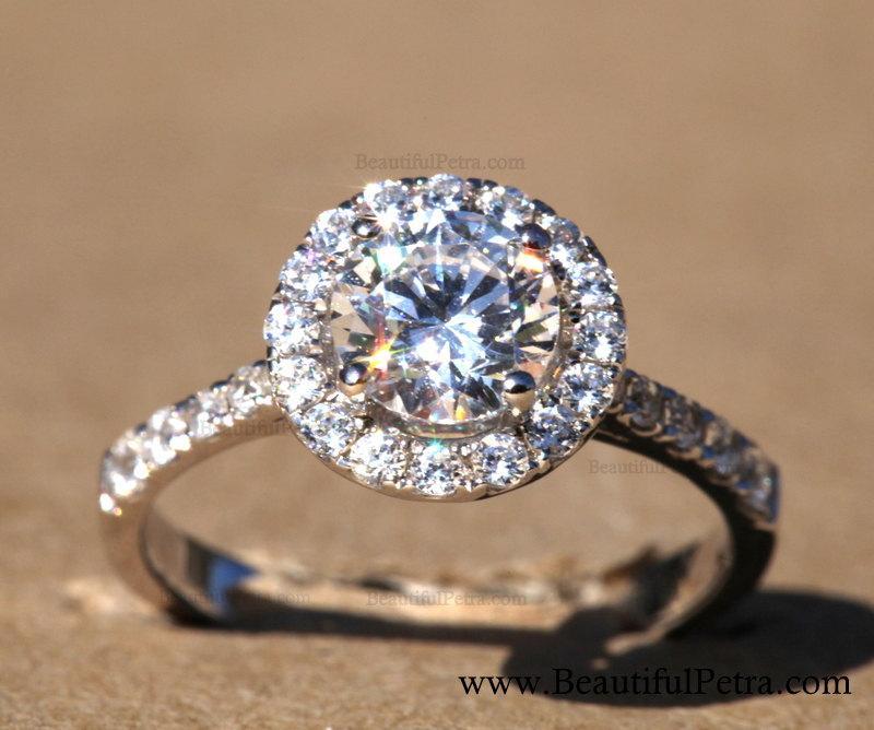 Свадьба - Diamond Engagement Ring  -14K white gold - Round - Halo - Pave  - Bph025
