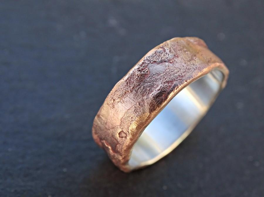 bronze ring silver band mens wedding ring bronze richly structured ring bronze engagement ring cool mens ring bronze wood grain ring - Unusual Mens Wedding Rings