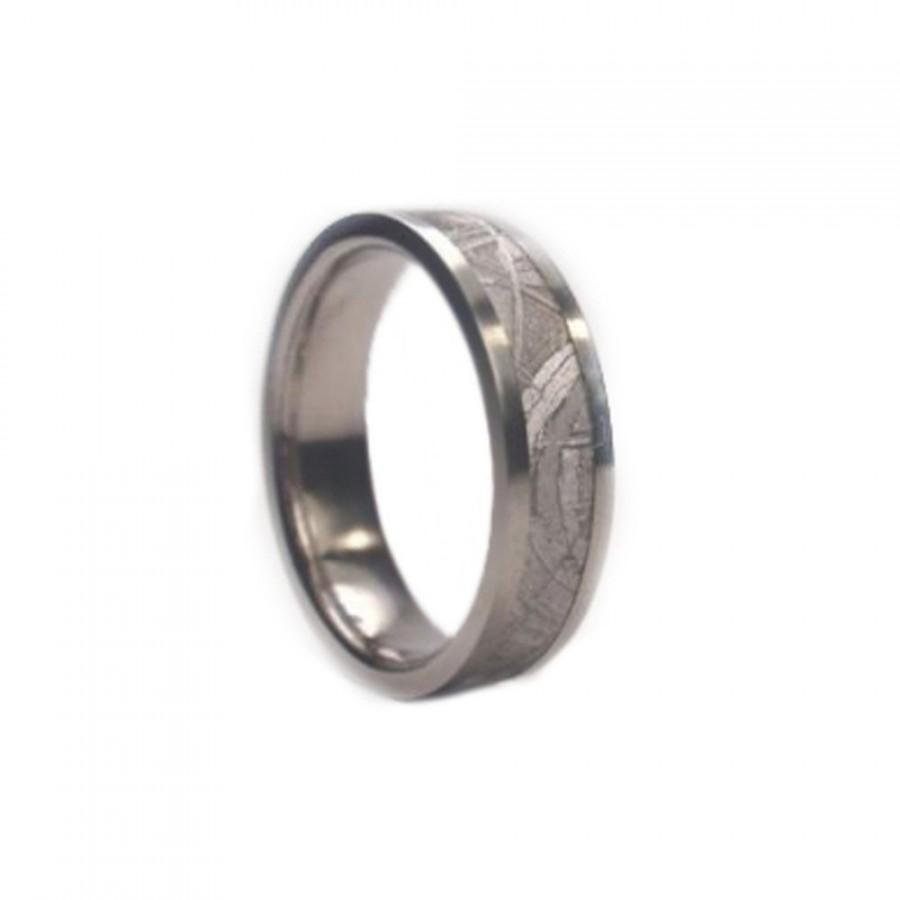 Meteorite Ring Titanium Wedding Band Mens 6 Mm Total Width 9
