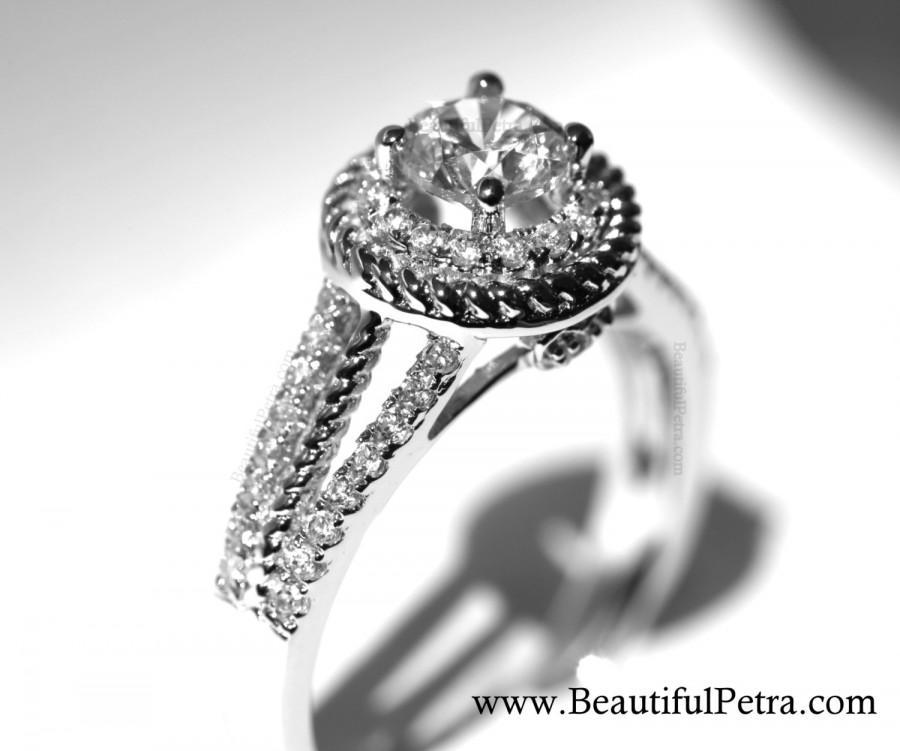 زفاف - Split Shank -  Halo - Pave - Twisted - Rope - Heart - Antique Style - Diamond Engagement Ring 14K - Wedding - Bph026