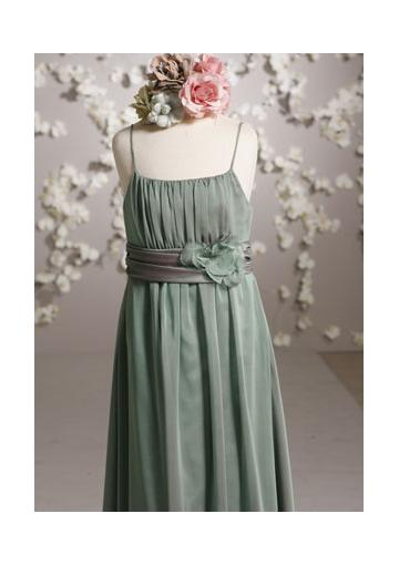 Wedding - Sleeveless Ribbon Floor Length Spaghetti Straps Chiffon Flower