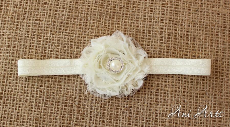 Mariage - Rustic wedding Flowergirl Headband Baby Headband Baptism Headband Christening headband Photo Props